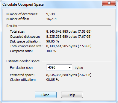 Calculate Occupied Space Disk Space Usage Analyser