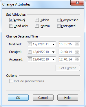 Change file or directory date, time, attributes: read-only
