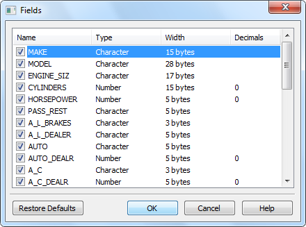 Fields (columns) of the displayed DBF file