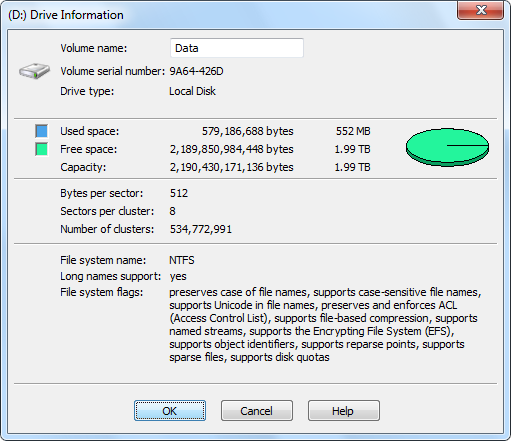 Drive Information: Disk Label, Size, Space, and File System